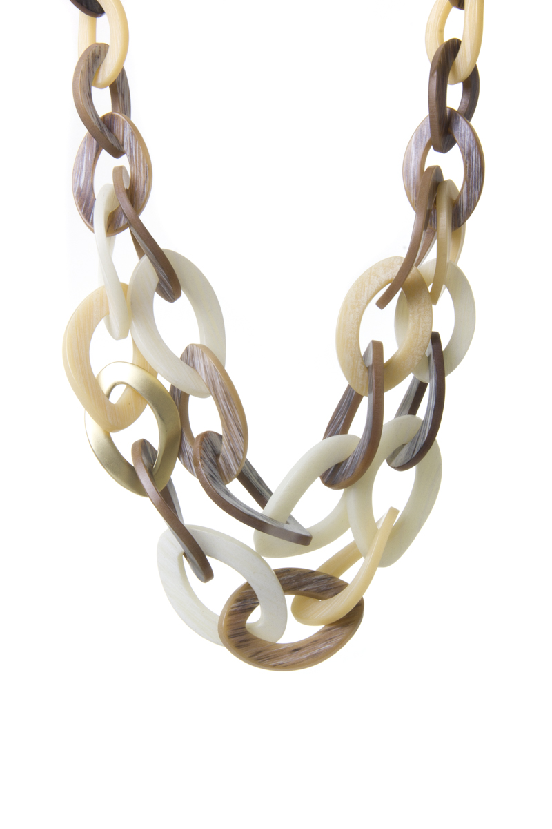 Collana a doppia fila di anelli ovali ricurvi Safari