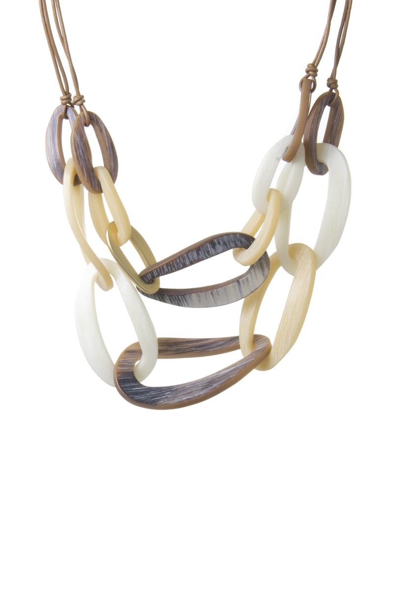 Collana multifilo con anelli ovali ricurvi Safari