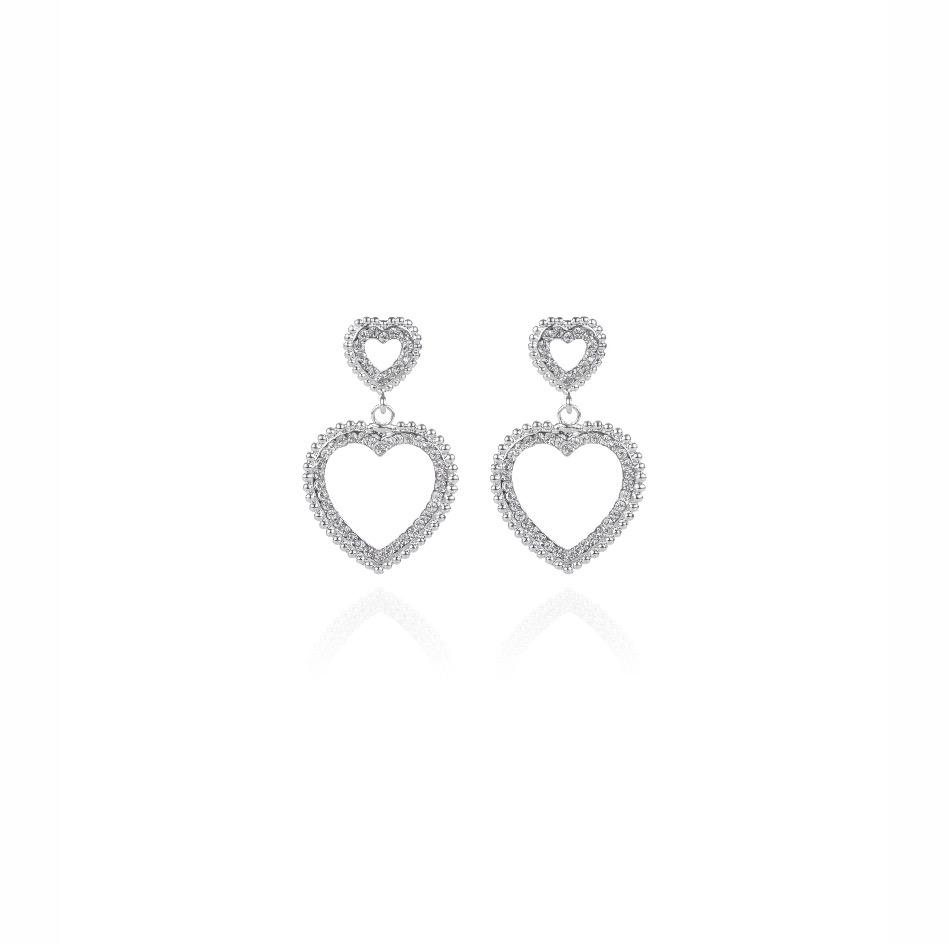 Orecchino doppio cuore vuoto Icon