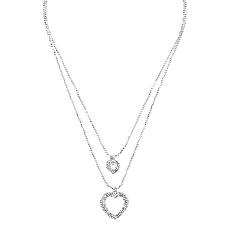 Collier doppia catena e cuore Icon