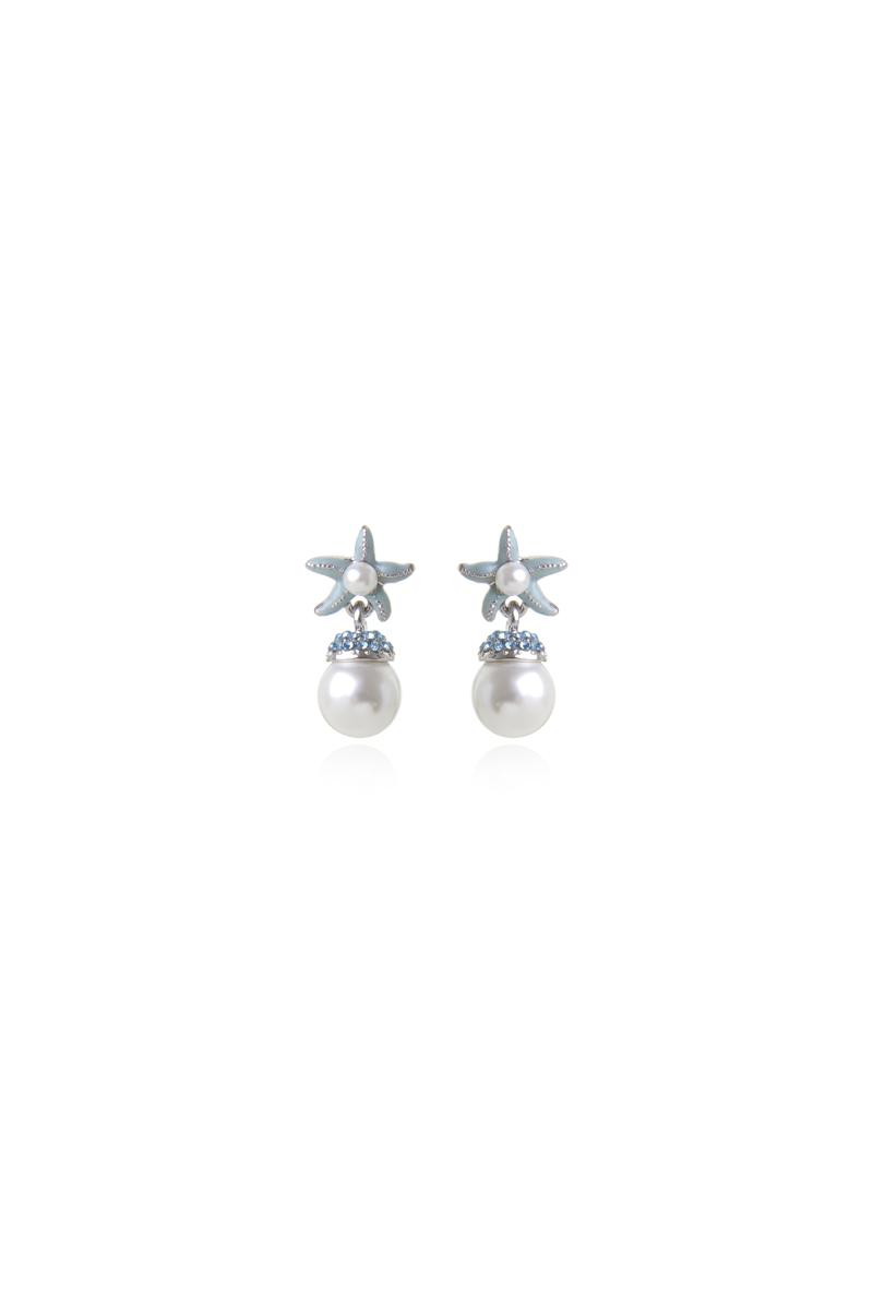 Orecchini con perla e stella marina Ocean