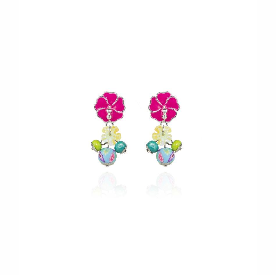 Piccoli orecchini con fiore di ibisco rosa